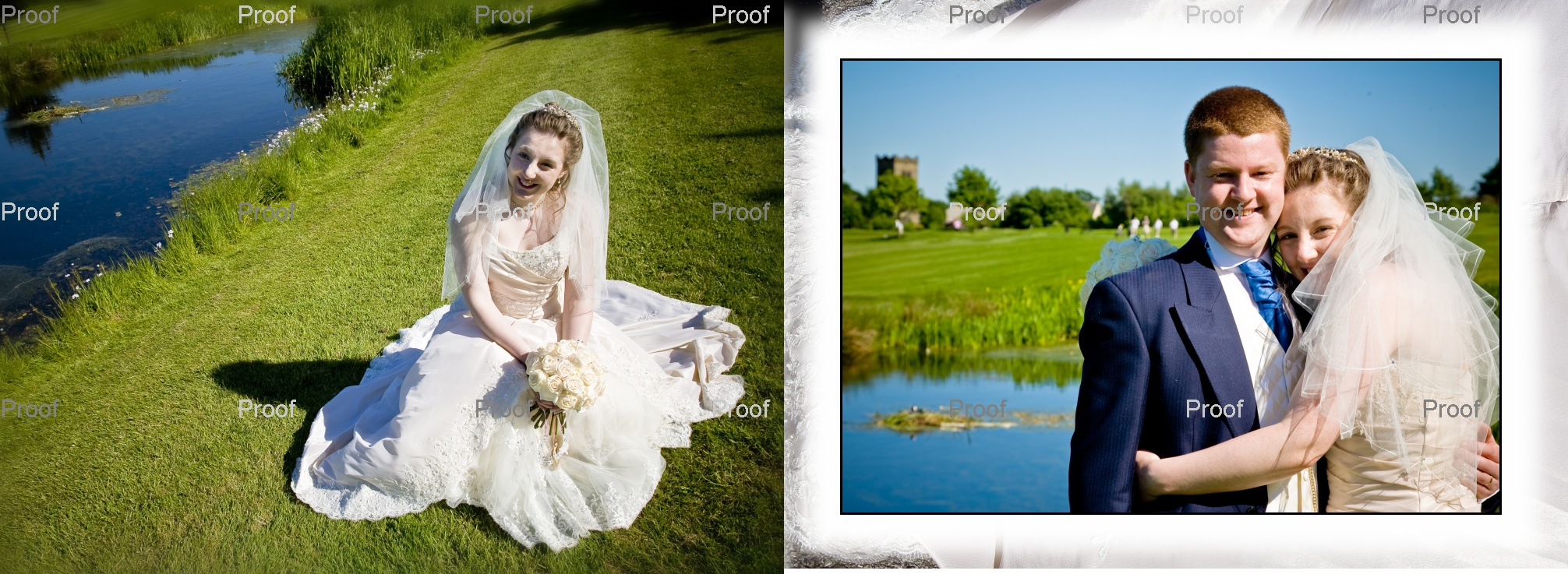 pages 38-39 wedding storybook album with bride and groom at Drighlington Golf Club, West Yorkshire