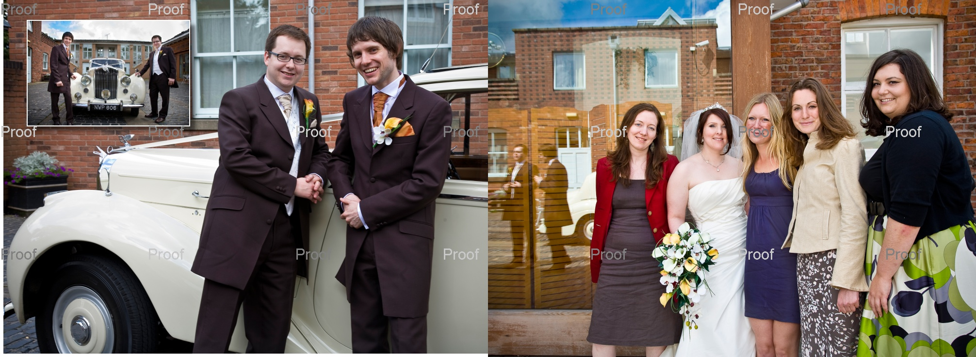 pages 38-39 of wedding storybook album design outside Chancellors Hotel & Conference Centre