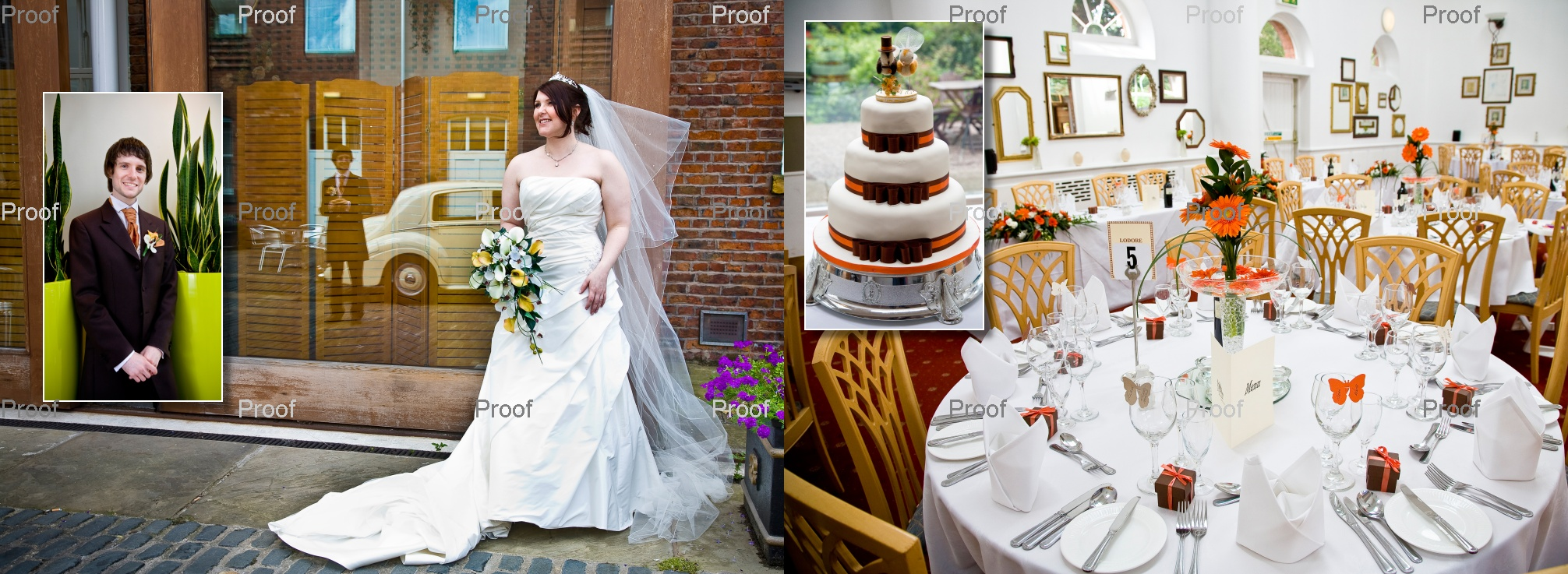 pages 40-41 of storybook album wedding reception at Chancellors Hotel and Conference Centre in Manchester