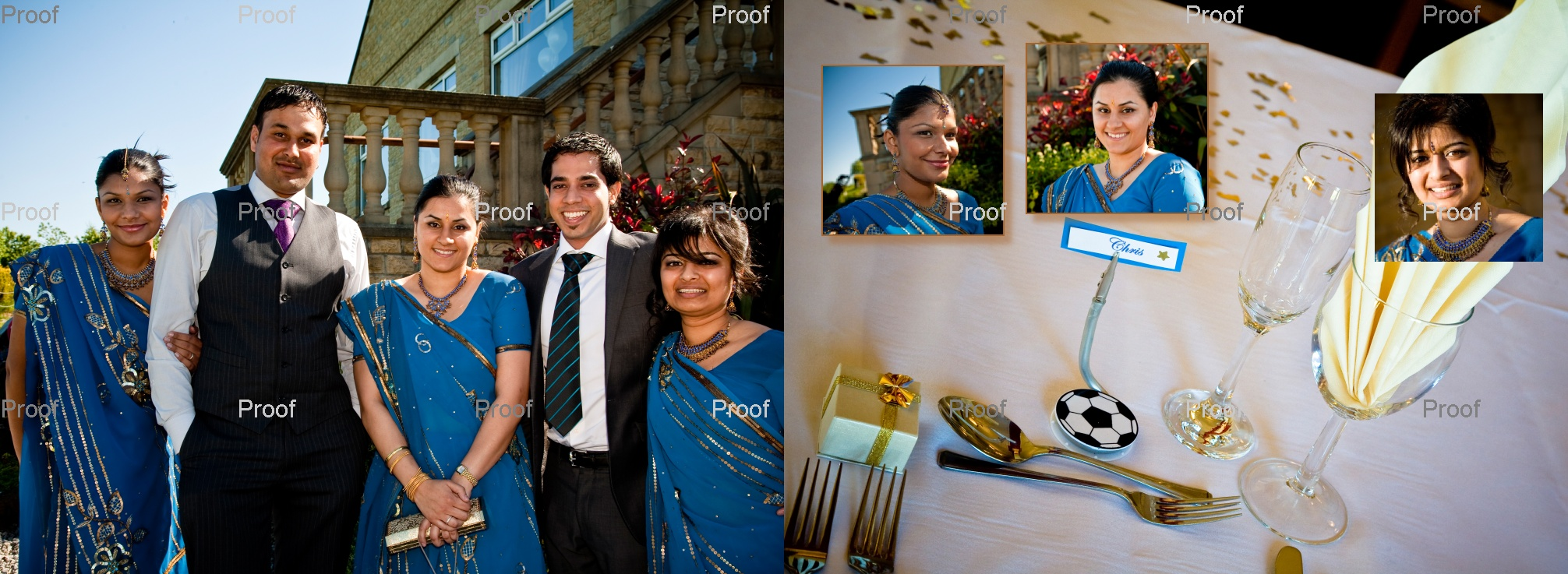 Asian bridesmaids in blue saris - at wedding reception - pages 42-43 of wedding storybook album