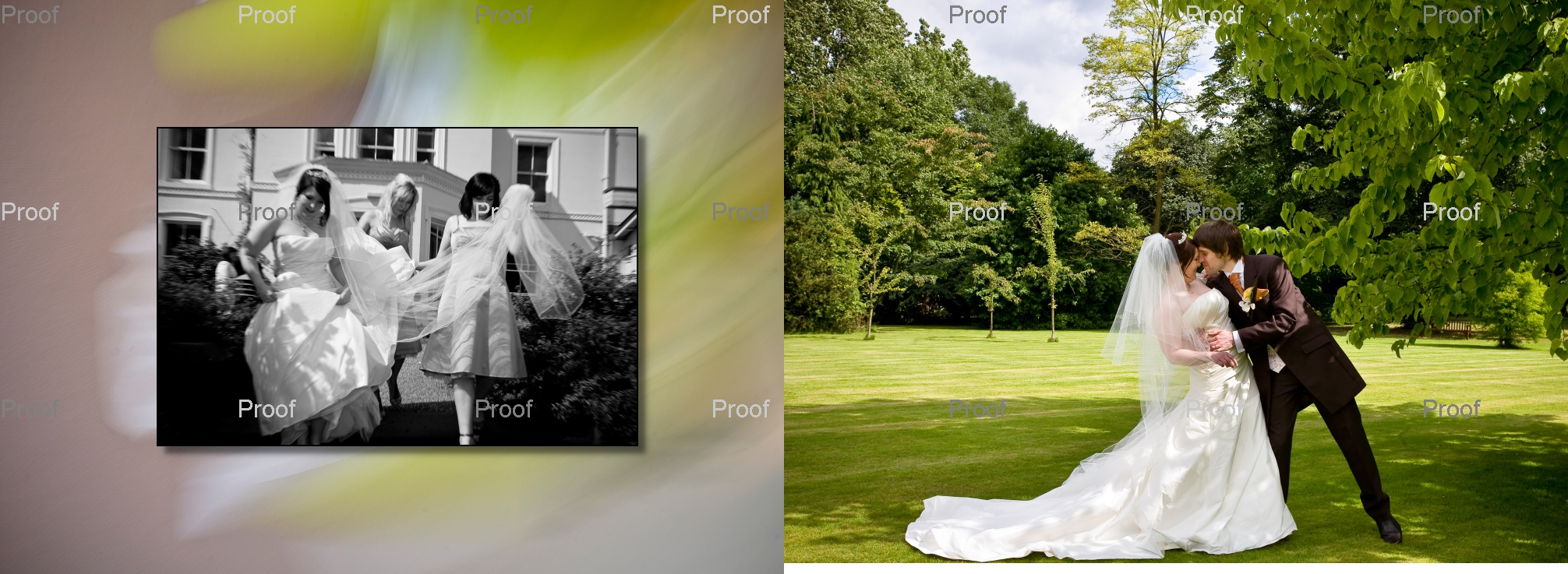 pages 46-47 of wedding storybook album with bride and groom in grounds of Chancellors Hotel & Conference Centre