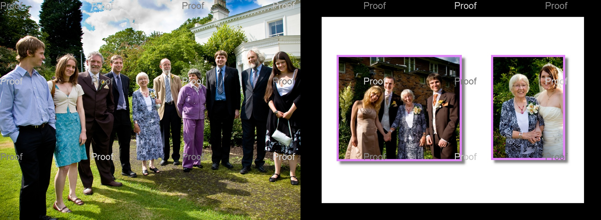 pages 50-51 of wedding storybook album with family photos outside Chancellors Hotel & Conference Centre