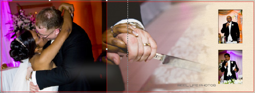 Graphistudio Italian storybook at wedding venue Pages 52-53  with kissing after really cutting the cake