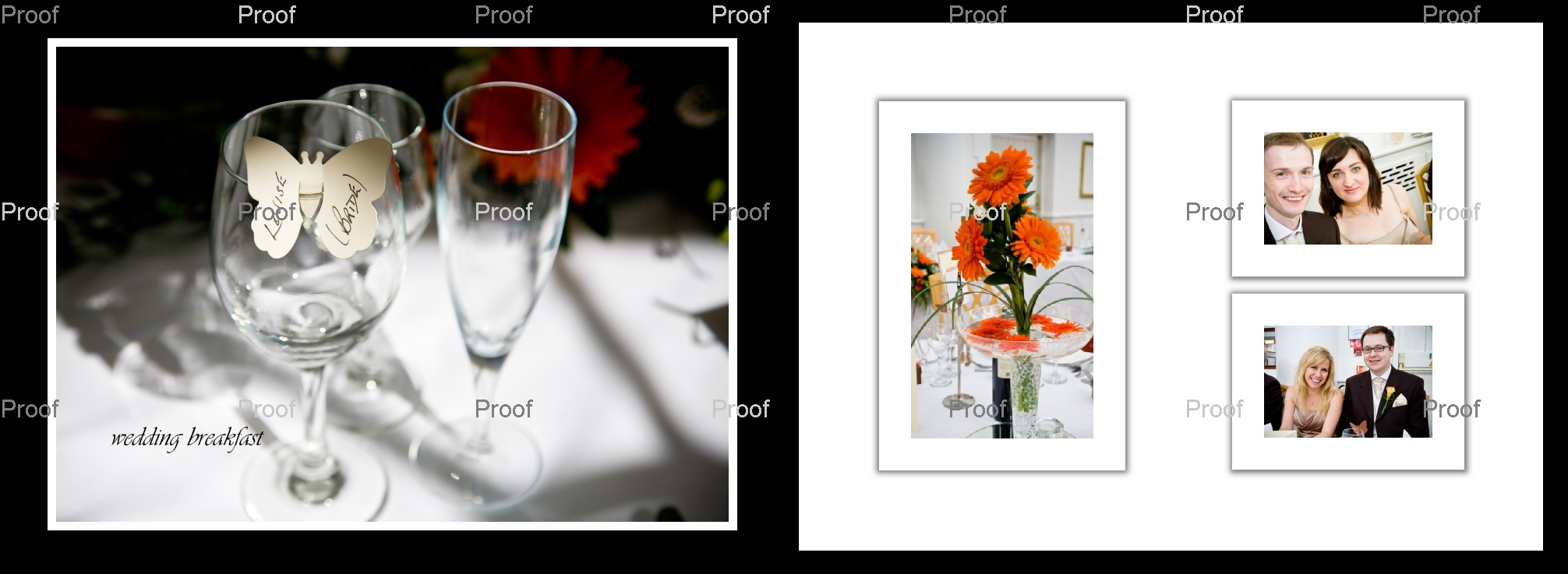 pages 52-53 of wedding storybook album with pictures of wedding breakfast at Manchester wedding venue
