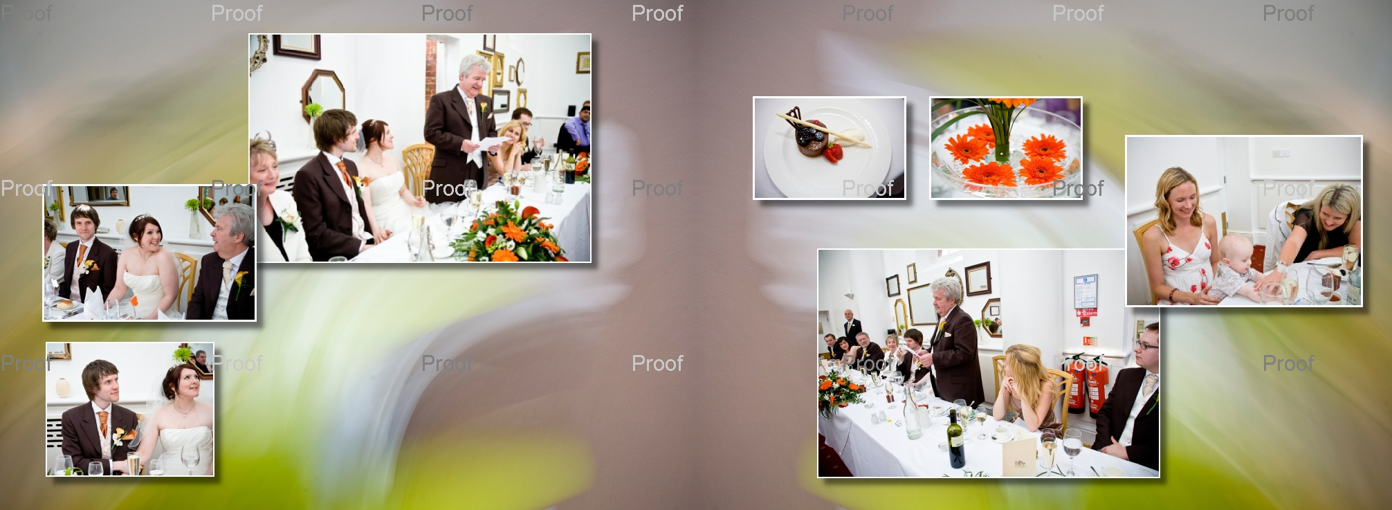 pages 54-55 of wedding storybook album with pictures of speeches at Chancellors Hotel and Conference Centre