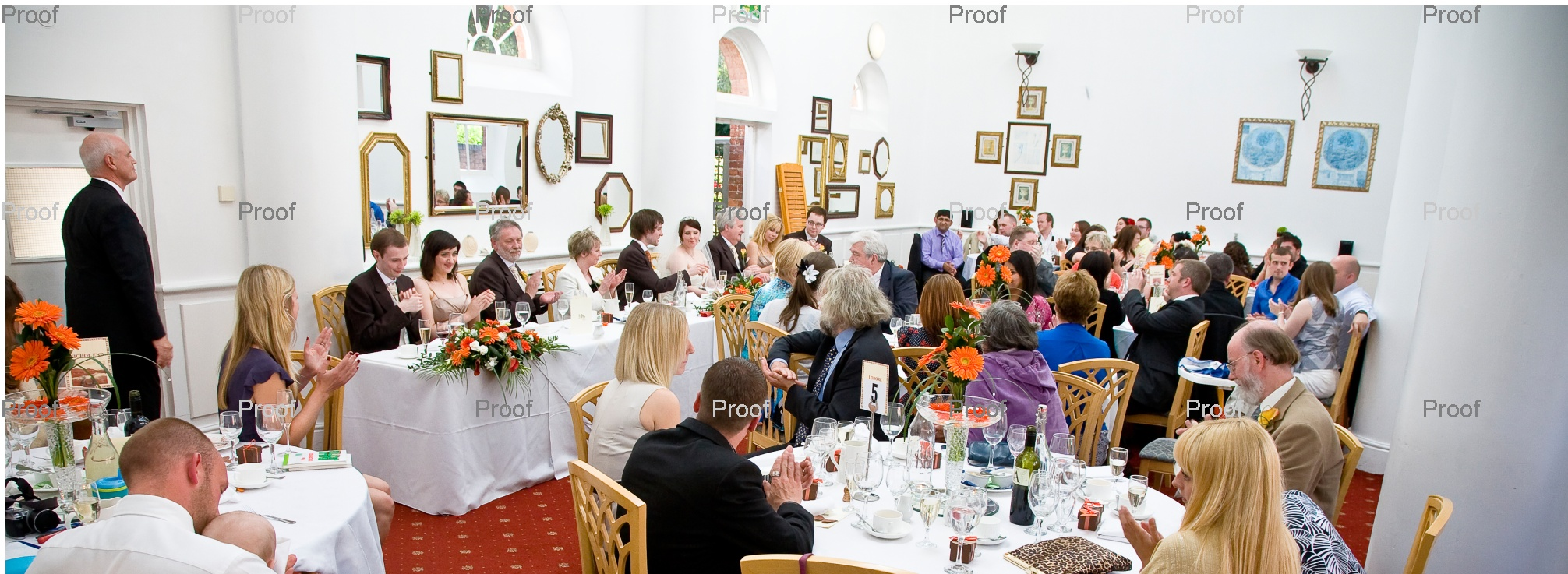 pages 58-59 wedding storybook album, picture of Chancellors Hotel function room during wedding breakfast
