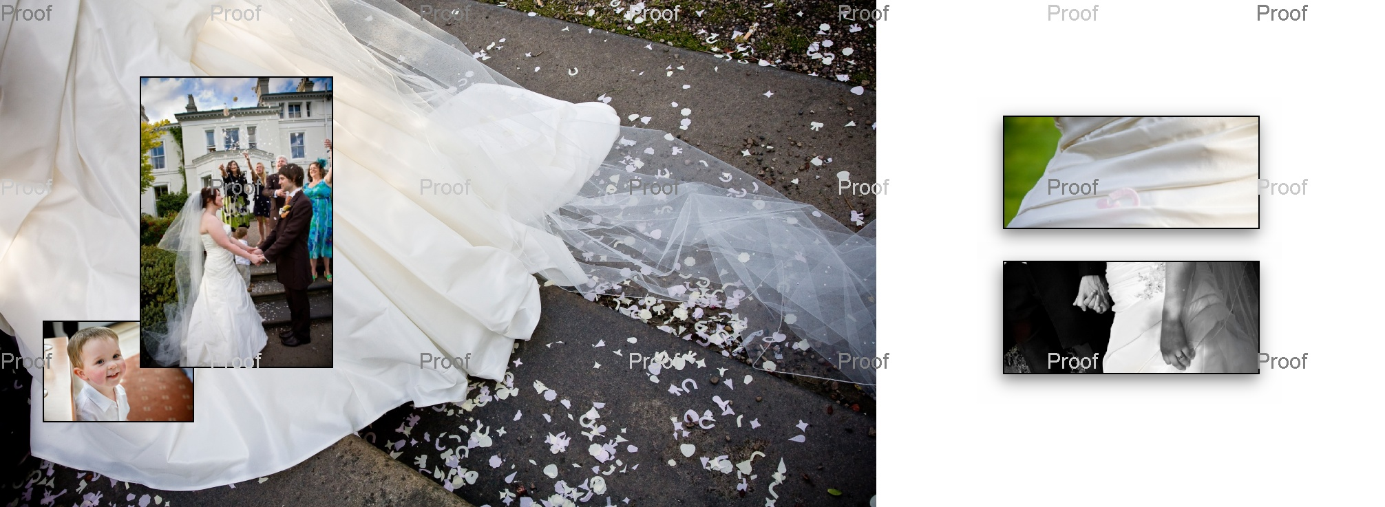 pages 64-65 wedding storybook album pictures of confetti and bridal train
