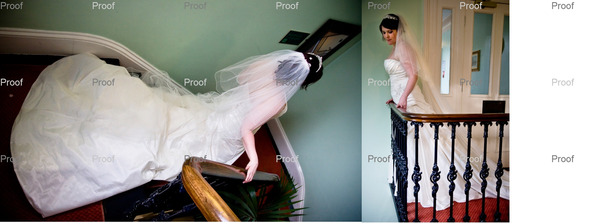 pages 66-67 of wedding storybook album with bride Louise on staircase in natural light