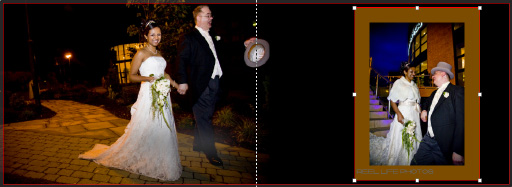 wedding pictures of bride and groom outside hotel at night in Graphistudio wedding album pages 68-69