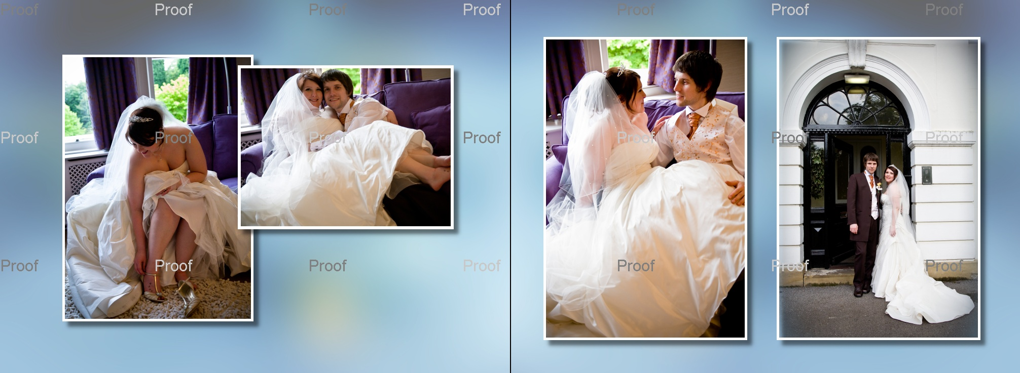 pages 72-73 wedding storybook album with pictures of bride and groom in Manchester