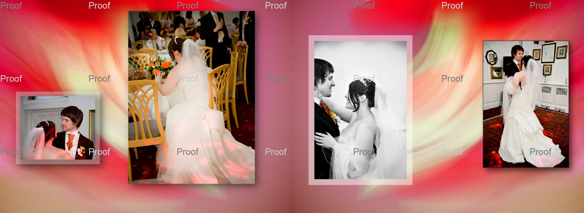 pages 76-77 storybook album showingn first dance pictures evening wedding reception in Manchester
