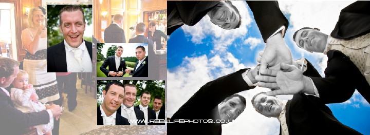 Groomsmen ready for action -pages 12-13 of Graphistudio wedding album