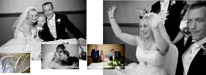 Black and White wedding photos of jubilant bride after signing register