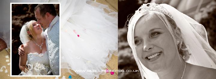 Monochrome and pastel coloured wedding images in Graphistudio album pages 34-35