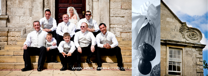 Groomsmen with bride outside Hellaby Hall  in Graphistudio wedding book pages 38-39