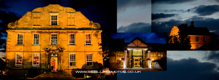 Pictures of Hellaby Hall at night after wedding