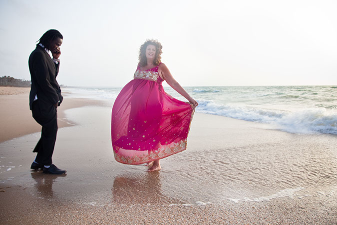 Denise and Bax Gambian wedding photo on the beach