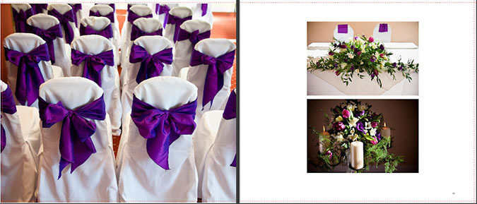 wedding chairs with purple sashes and wedding ceremony flowers