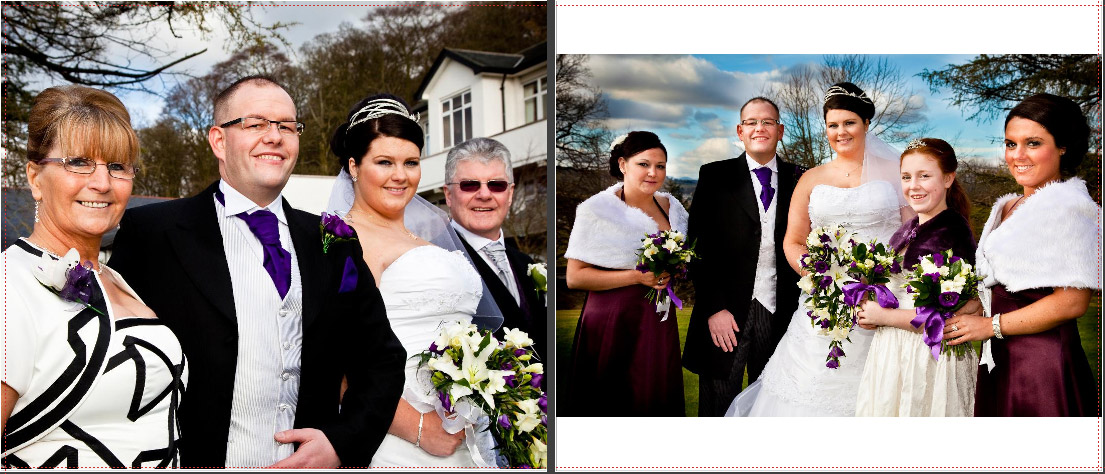 Brides's family wedding photos outside Castle Green Hotel in Kendal