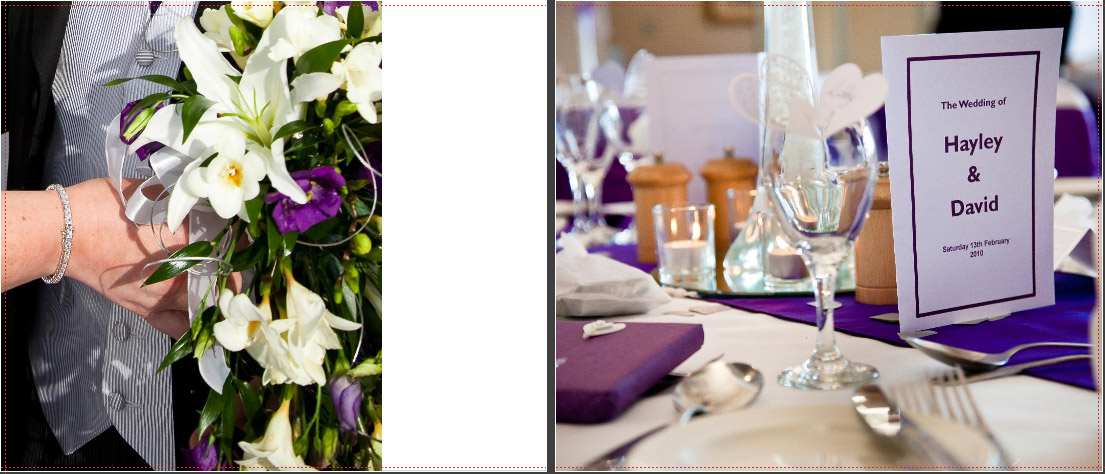 detail of purple and ivory wedding bouquet and table layout