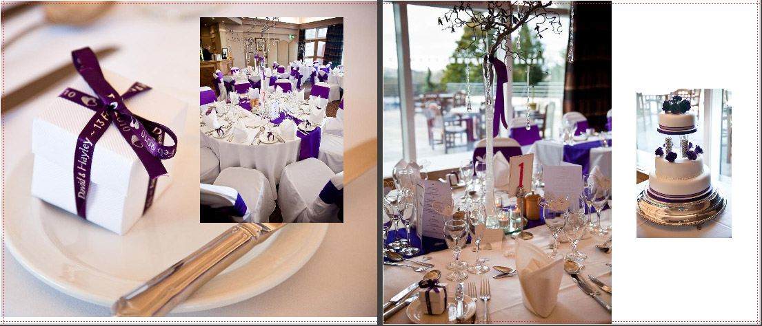 details of the table layout at Castle Green Hotel with purple and white theme