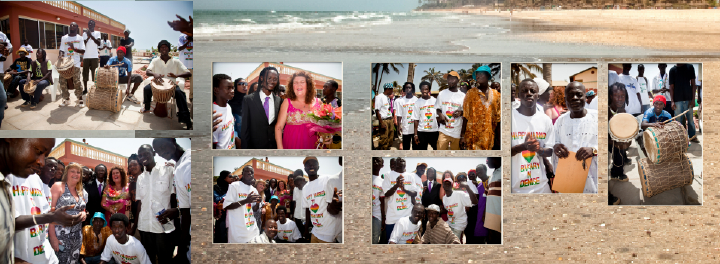 "The ""boys"" on the beach for official Gambian wedding pictures"