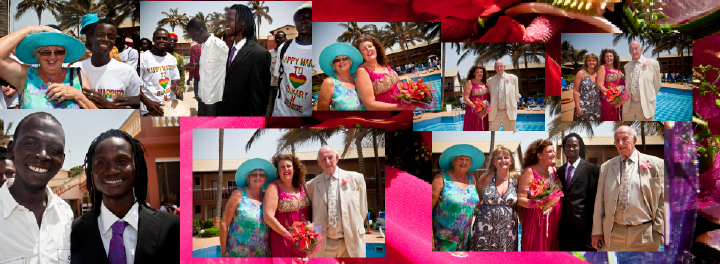 family wedding photos by hotel pool in The Gambia