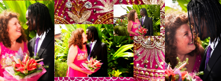 romantic British bride and Gambian groom kissing