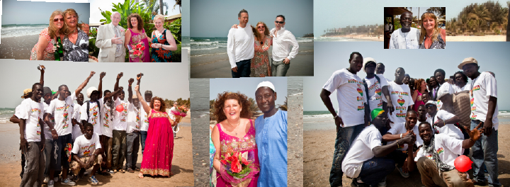 bride, groom and friends on the beach in Gambia