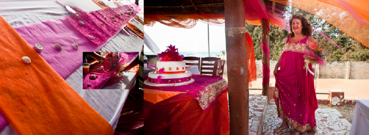 Denise and Bax's beautiful wedding reception with floaty pink decorations