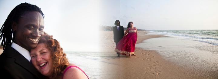 bride and groom wedding photos on beach in The Gambia