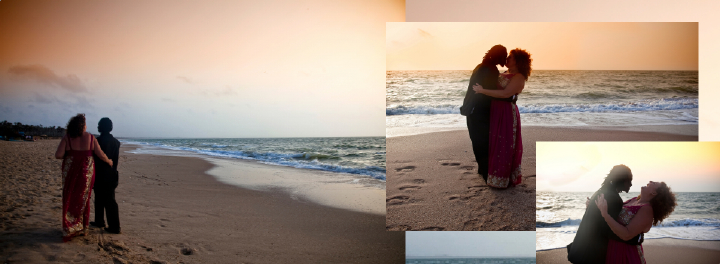 Sunset wedding photos on beach in The Gambia