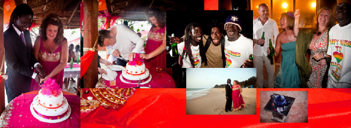 Cutting the wedding cake: end of first day of Denise and Bax's Gambian wedding