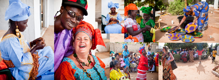 Gambian wedding photos with lady threading beads