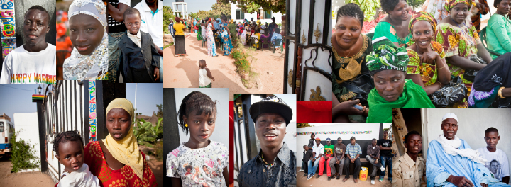Denise and Bax's Gambian wedding day by their great gates.