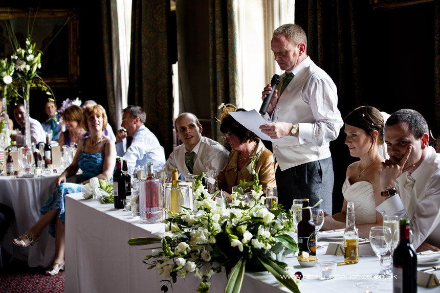 wedding speeches at Carlton Towers in Yorkshire