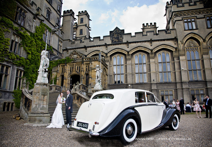 picture of wedding car , bride and groom, at Carlton Towers, Yorkshire