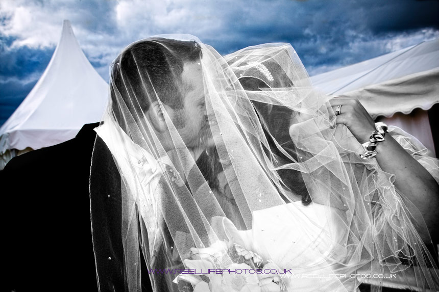Black and white wedding photo of kiss under the veil and blue night sky