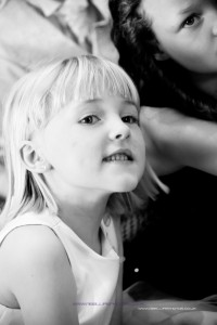 Black and white photo of little girl at wedding in Leeds