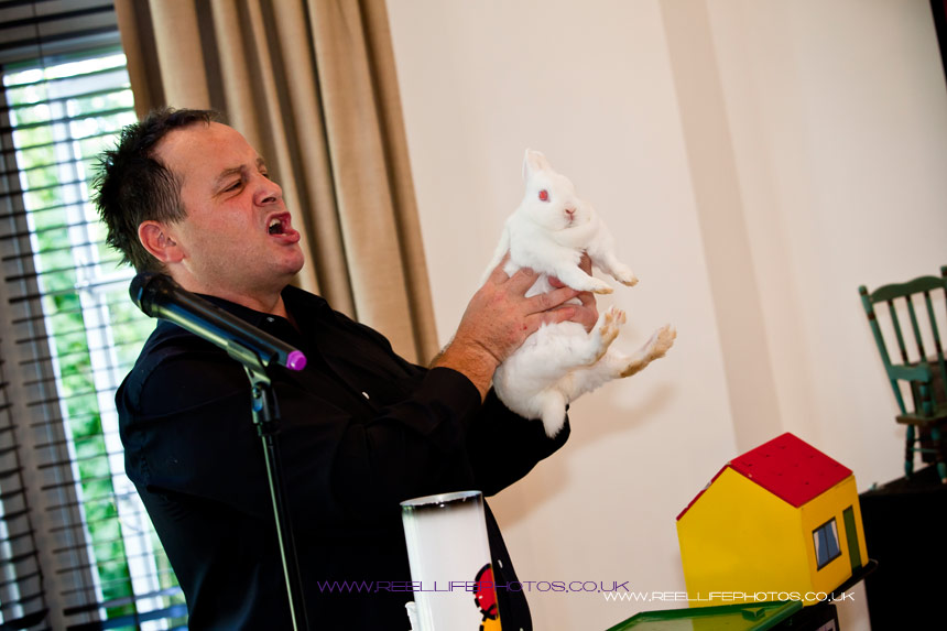 magic rabbit out of the house at wedding in Leeds