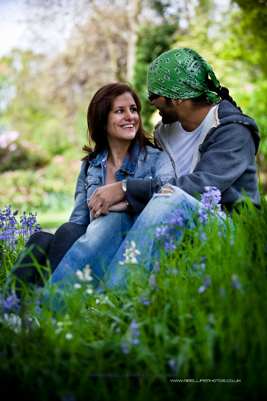 pre-wedding engagement photo in the bluebells