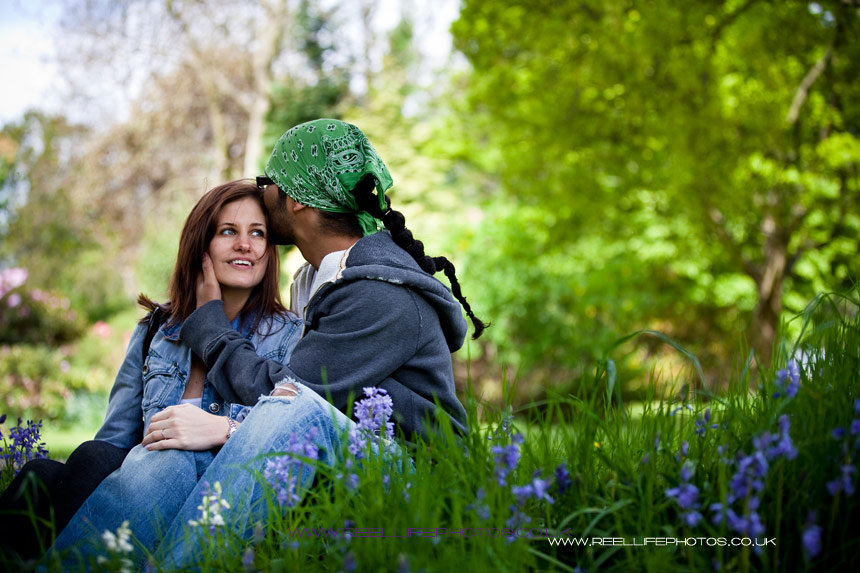pre-wedding engagement shoot amongst the bluebells