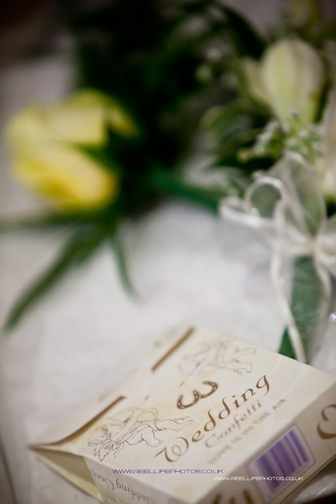 Box of confetti and lemon rose corsage