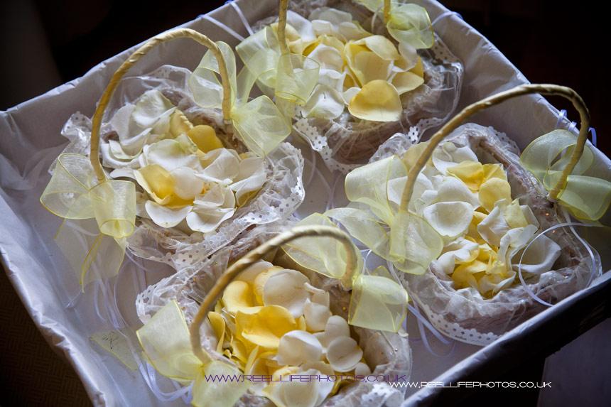 Baskets of lemon rose petals for the Flower Girls at wedding in Yorkshire