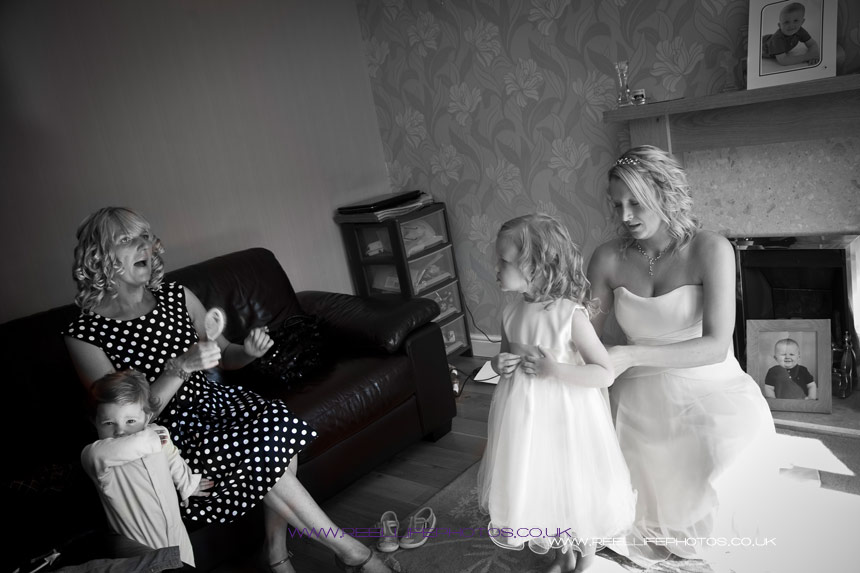 black and white wedding prep picture at bride's house in Dewsbury
