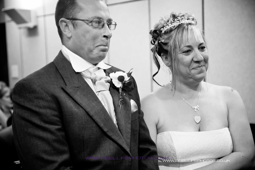 bride and groom during their wedding vows, Huddersfield