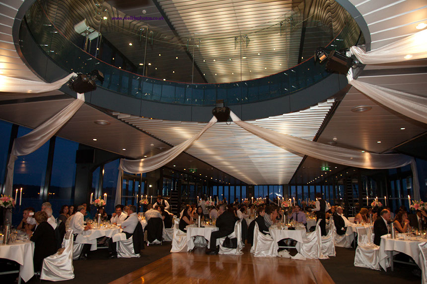 glamorous wedding reception on Starship Sydney