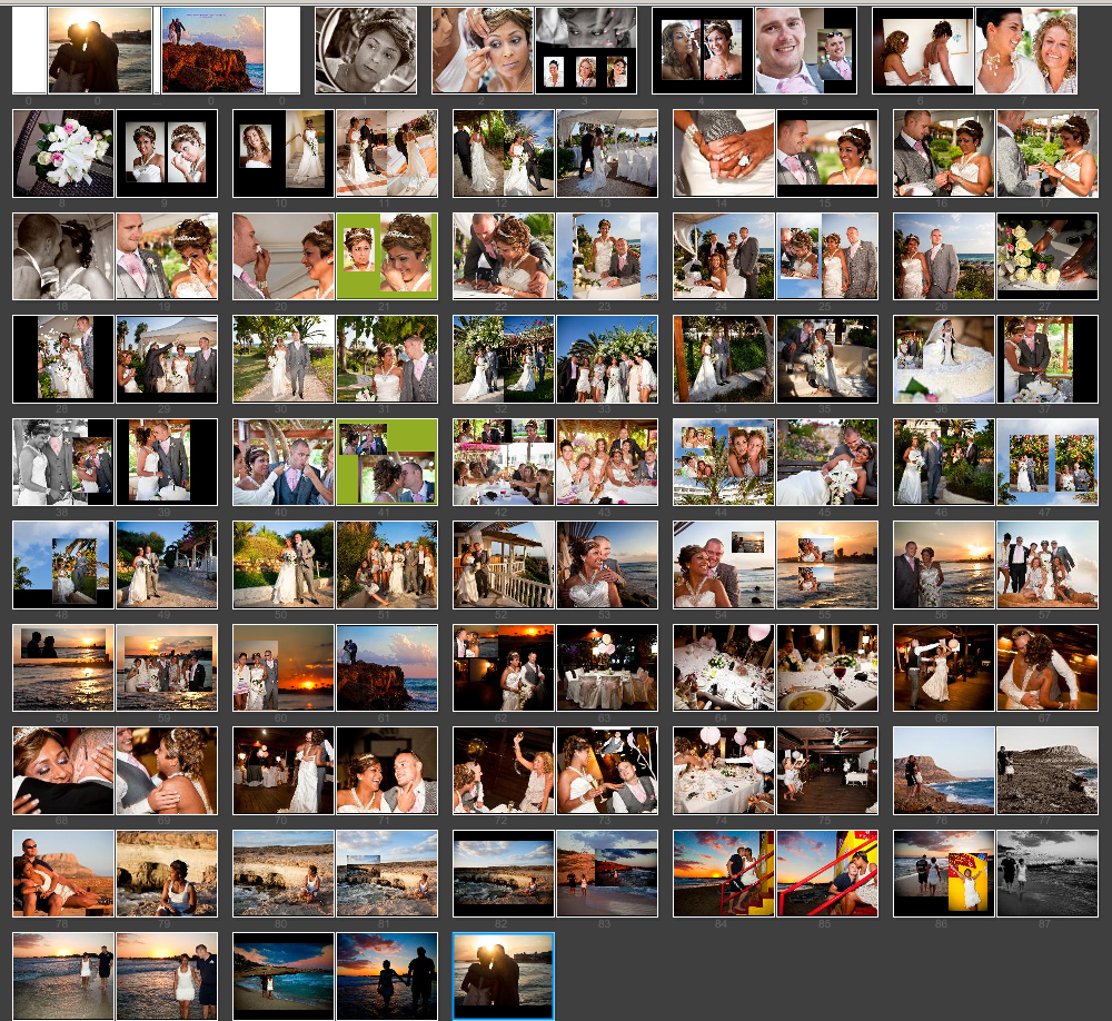 Cyprus Storybook album layout design by UK wedding photographers