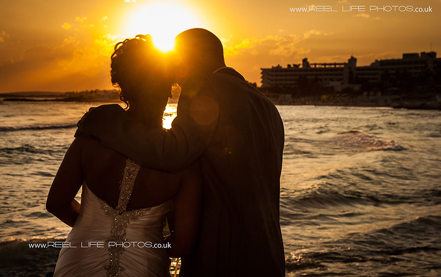 romantic sunset beach wedding in Cyprus