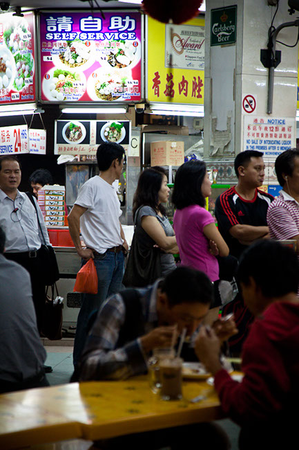 Queue of locals in Singapore at  Pongol Nasi Lemak Centre in Singapore